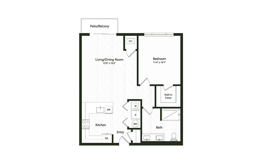 1B-10 - 1 bedroom floorplan layout with 1 bath and 820 square feet.