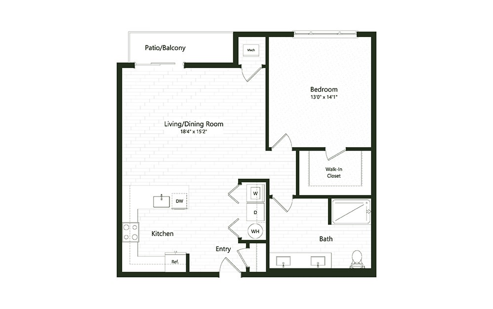 1B-2 - 1 bedroom floorplan layout with 1 bath and 950 square feet.