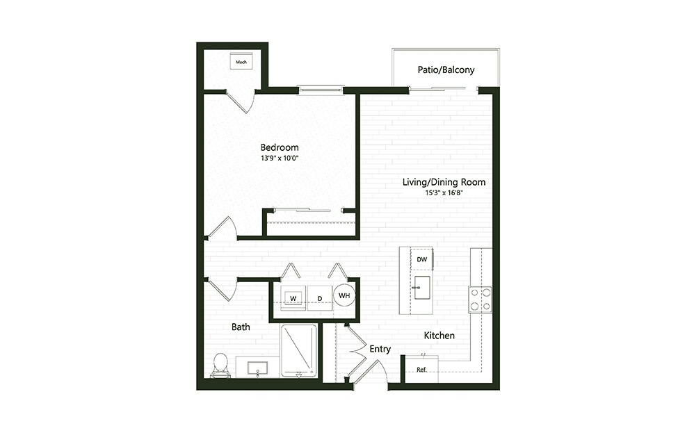 1B-2A - 1 bedroom floorplan layout with 1 bath and 744 square feet.