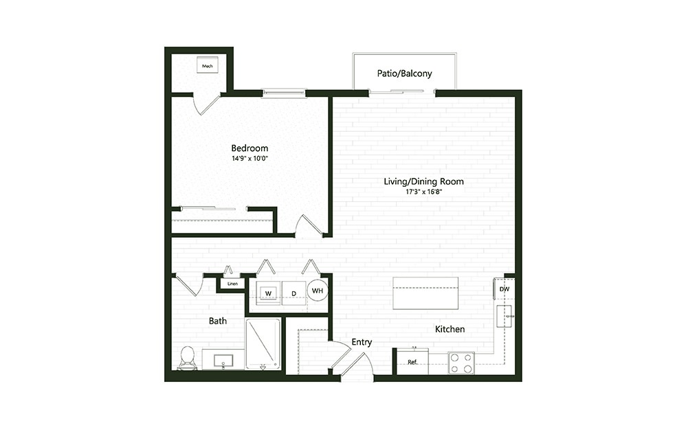 1B-3A - 1 bedroom floorplan layout with 1 bath and 903 square feet.