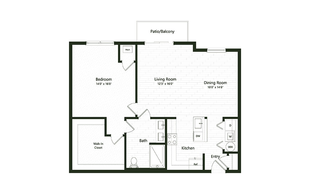 1B-4 - 1 bedroom floorplan layout with 1 bath and 1077 square feet.