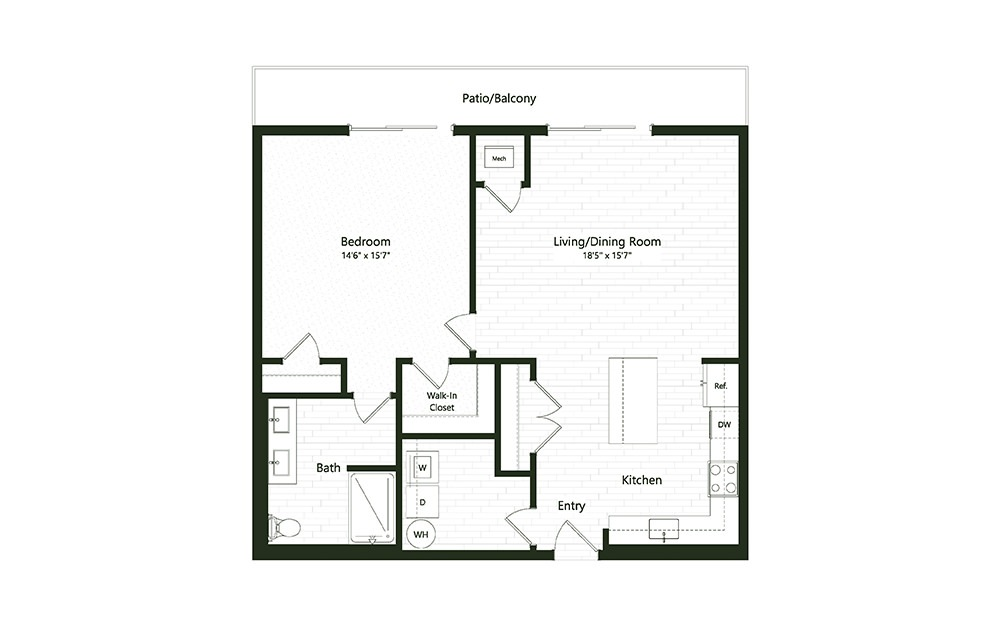 1B-6 - 1 bedroom floorplan layout with 1 bath and 1031 square feet.