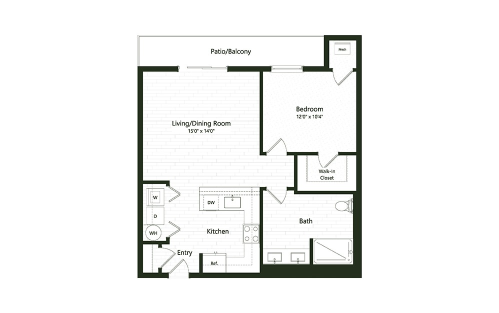 1B-7 - 1 bedroom floorplan layout with 1 bath and 804 square feet.