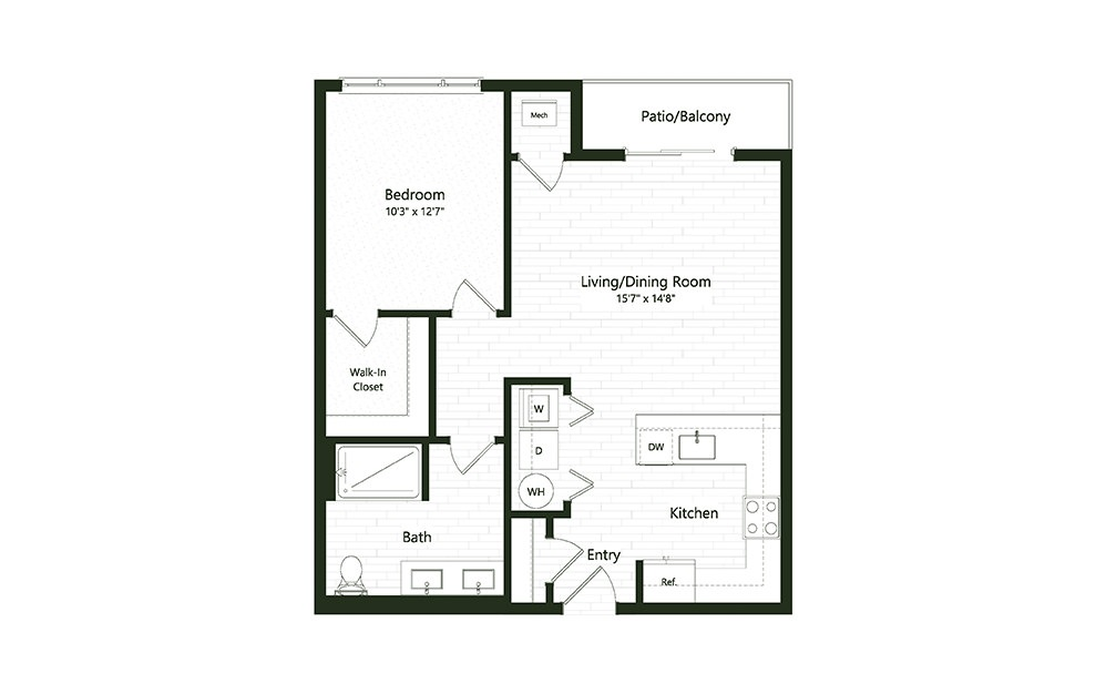 1B-8A - 1 bedroom floorplan layout with 1 bath and 802 square feet.