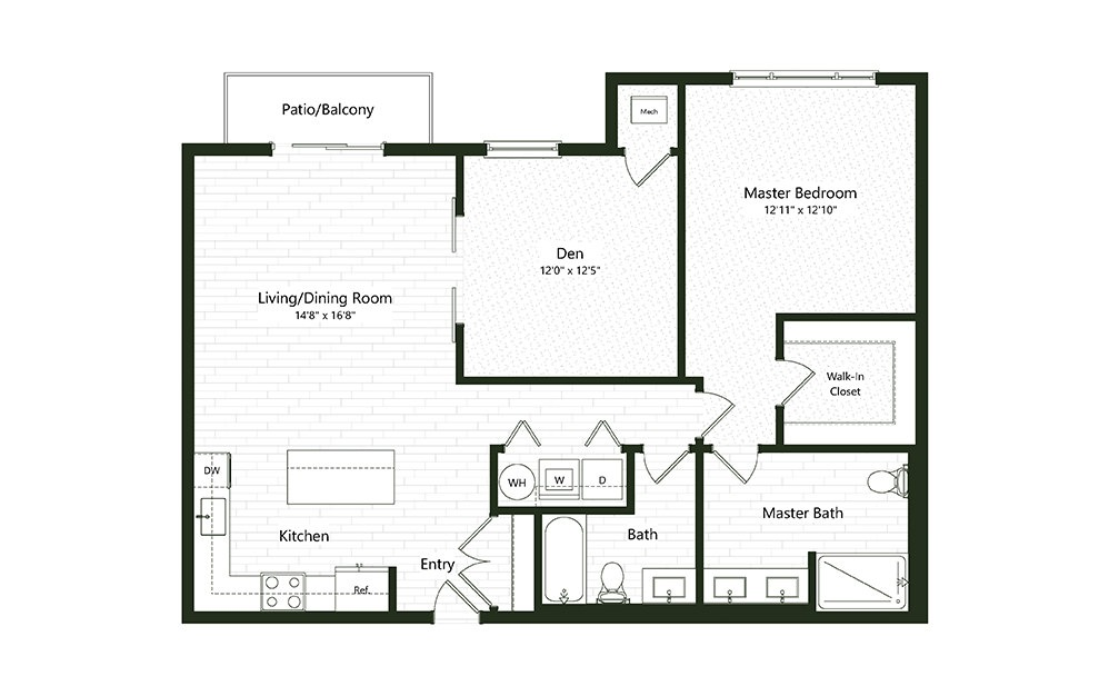 1B-D - 1 bedroom floorplan layout with 2 baths and 1205 square feet.