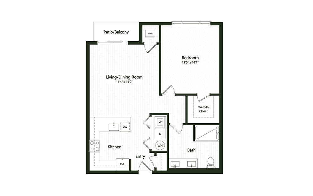 1B-1 - 1 bedroom floorplan layout with 1 bath and 808 to 811 square feet.