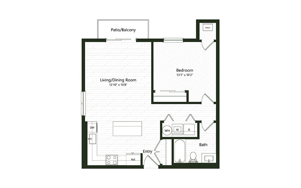 1BC-1-1A - 1 bedroom floorplan layout with 1 bath and 792 square feet.