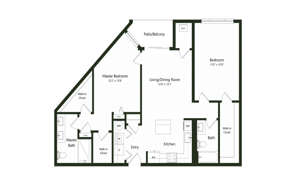 2BC-5A - 2 bedroom floorplan layout with 2 baths and 1213 square feet.