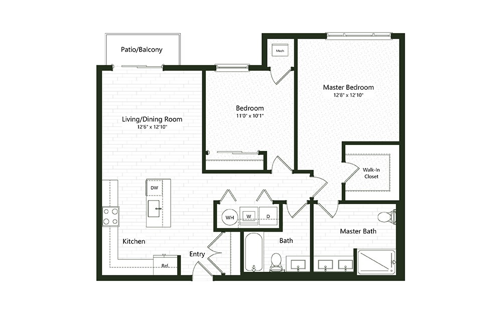 2B-2 - 2 bedroom floorplan layout with 2 baths and 1133 square feet.