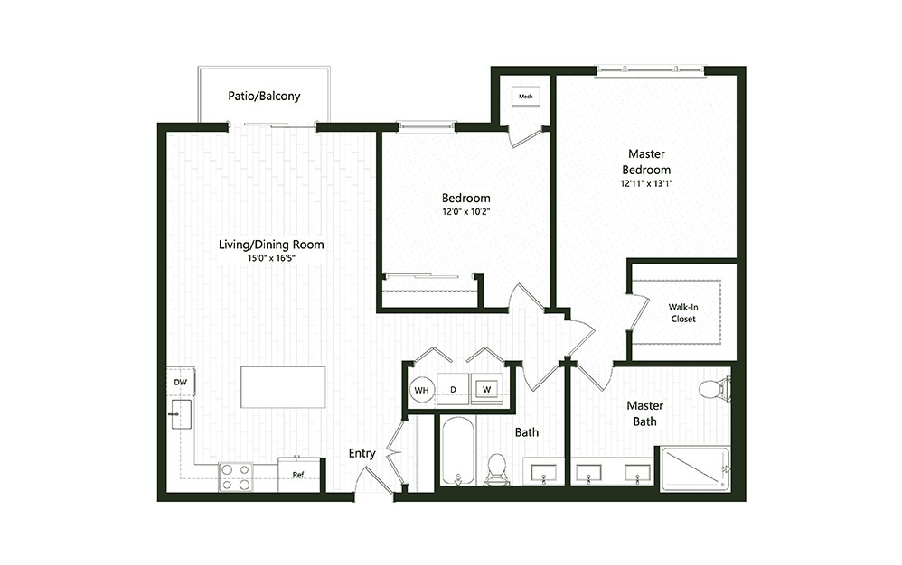 2B-1 - 2 bedroom floorplan layout with 2 baths and 1197 square feet.
