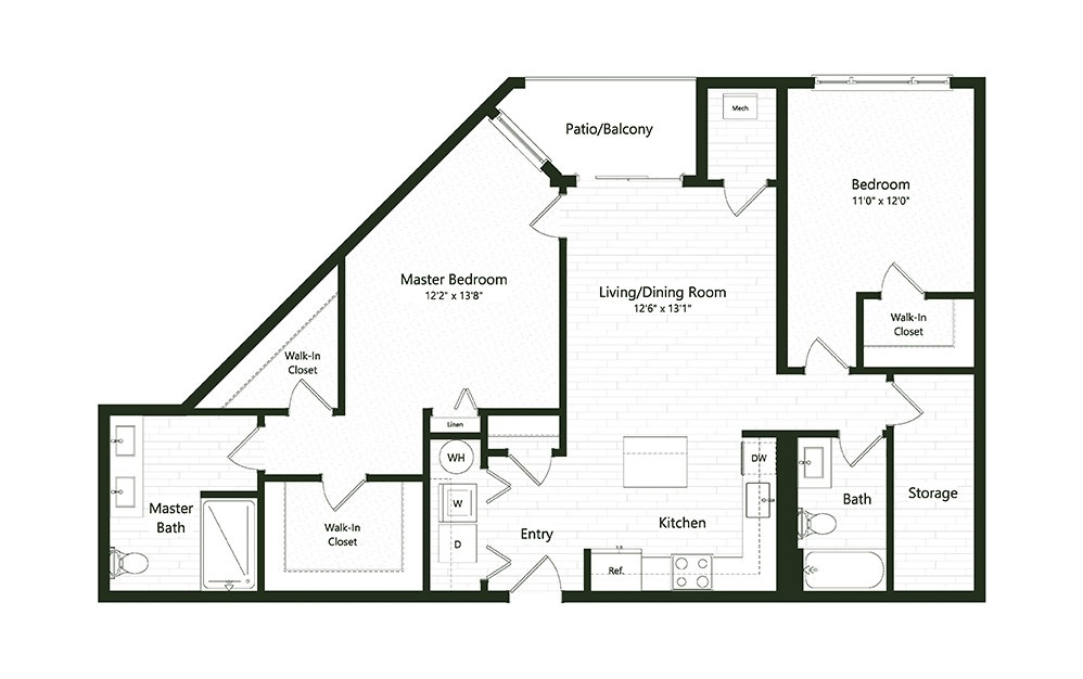 2BC-1A - 2 bedroom floorplan layout with 2 baths and 1275 square feet.