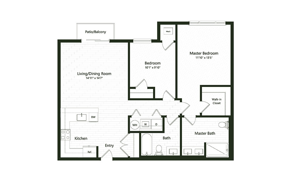 2BC-2 - 2 bedroom floorplan layout with 2 baths and 1127 square feet.