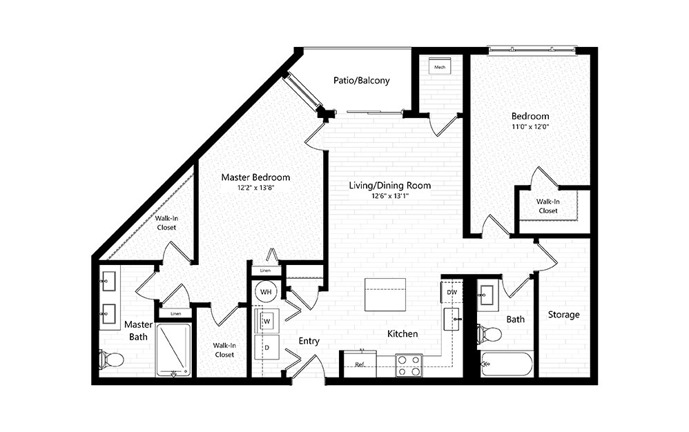 2BC-2A-FW - 2 bedroom floorplan layout with 2 baths and 1213 square feet.