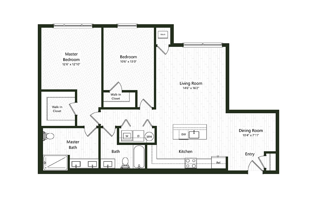 2BC-3 - 2 bedroom floorplan layout with 2 baths and 1300 square feet.