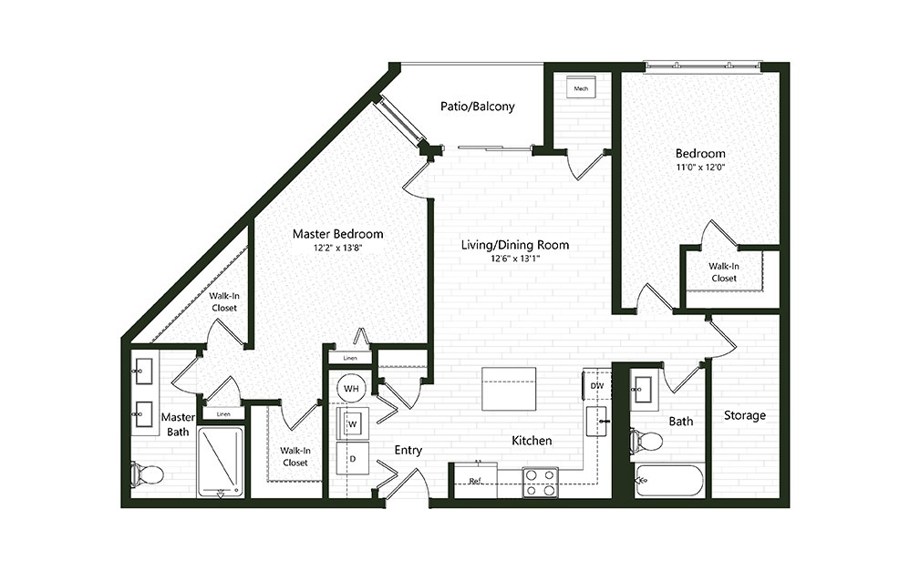 2BC-3A - 2 bedroom floorplan layout with 2 baths and 1212 square feet.