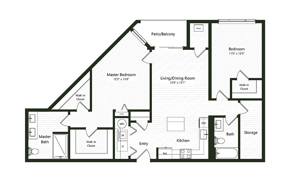 2BC-4A - 2 bedroom floorplan layout with 2 baths and 1778 square feet.