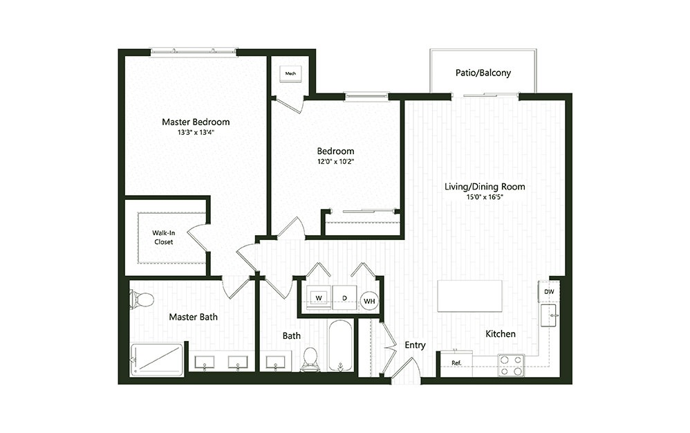 2BC-1 - 2 bedroom floorplan layout with 2 baths and 1195 square feet.
