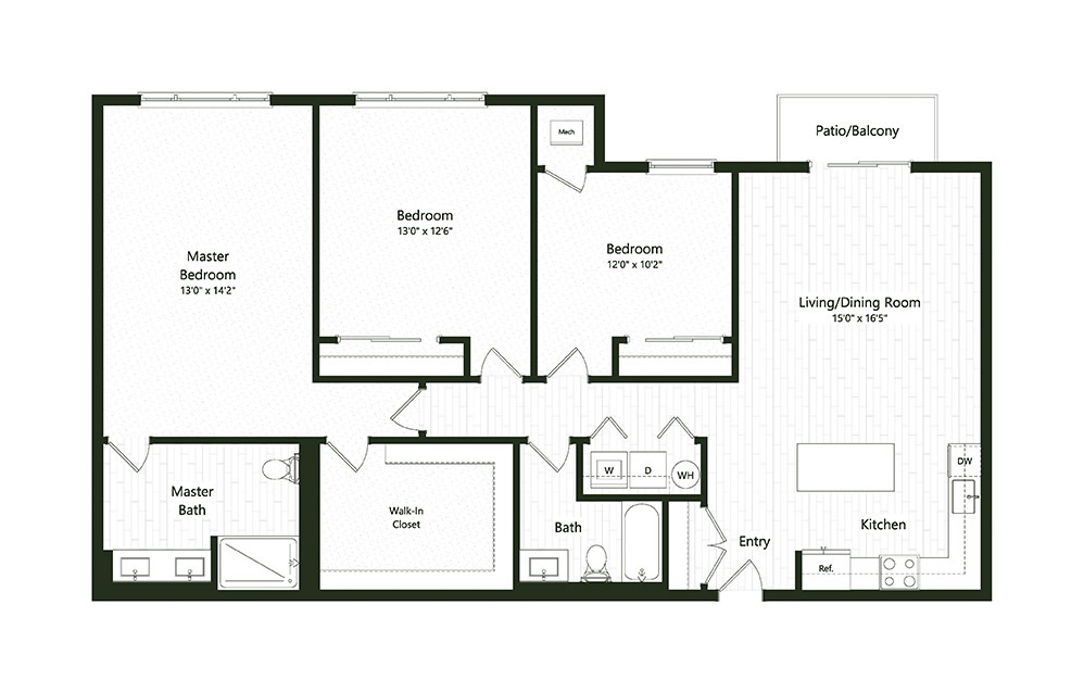3B-1-1A - 3 bedroom floorplan layout with 2 baths and 1618 square feet.