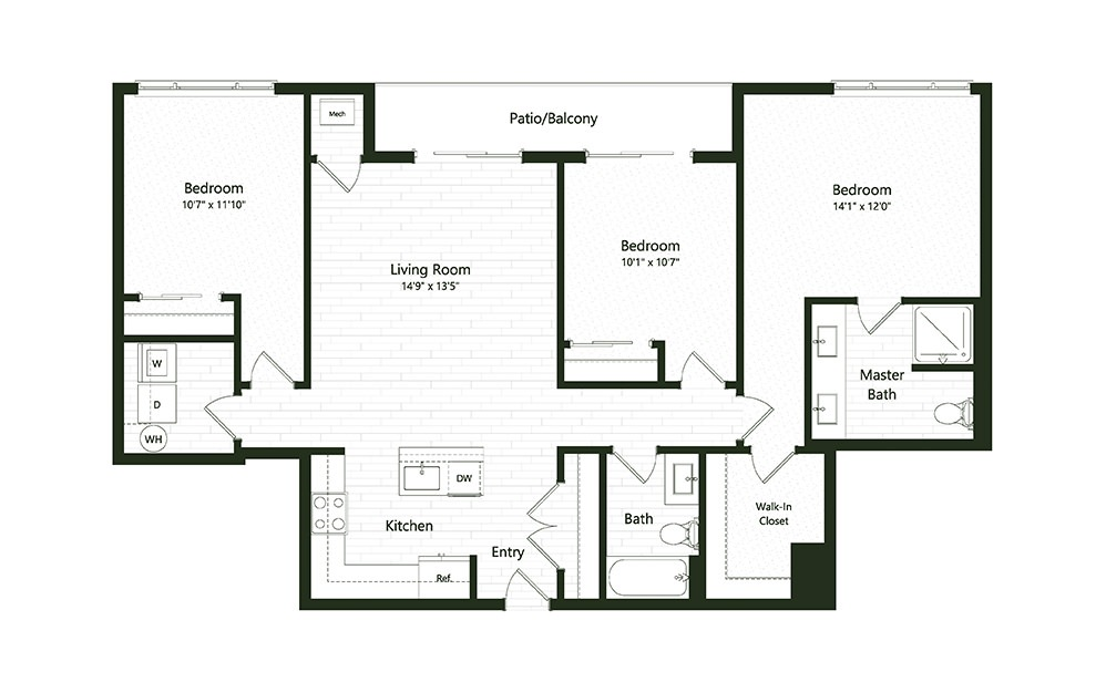 3B-2 - 3 bedroom floorplan layout with 2 baths and 1336 square feet.