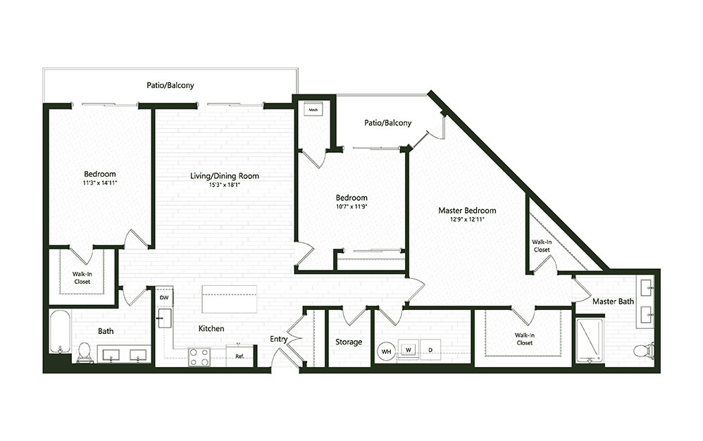 3B-3 - 3 bedroom floorplan layout with 2 baths and 1744 square feet.