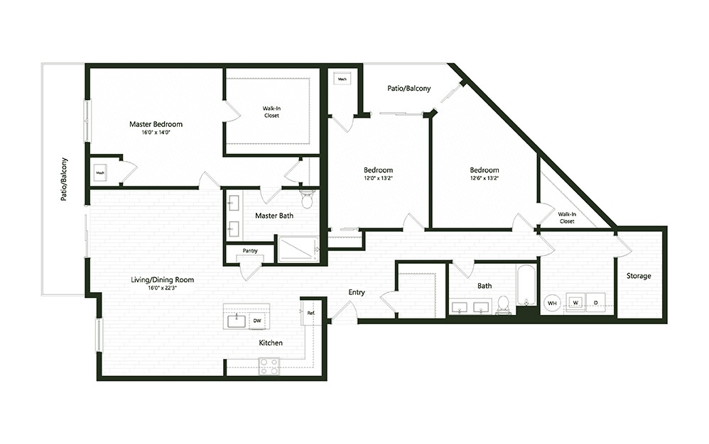 3B-4 - 3 bedroom floorplan layout with 2 baths and 1976 square feet.