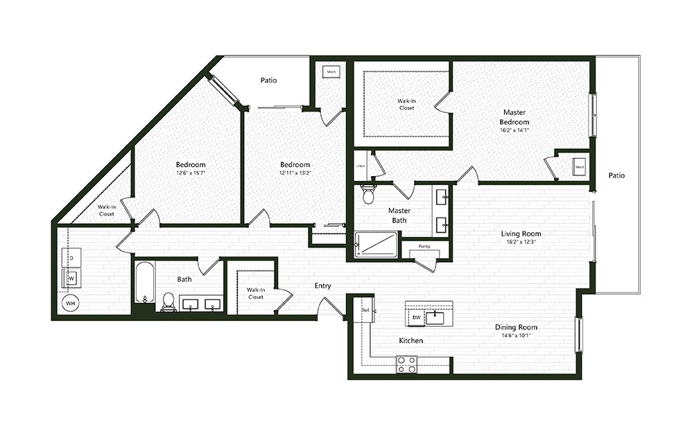 3B-5 - 3 bedroom floorplan layout with 2 baths and 1919 square feet.