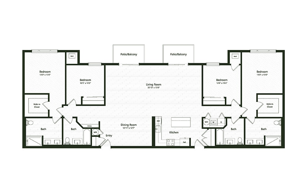 4B - 4 bedroom floorplan layout with 4 baths and 2402 square feet.
