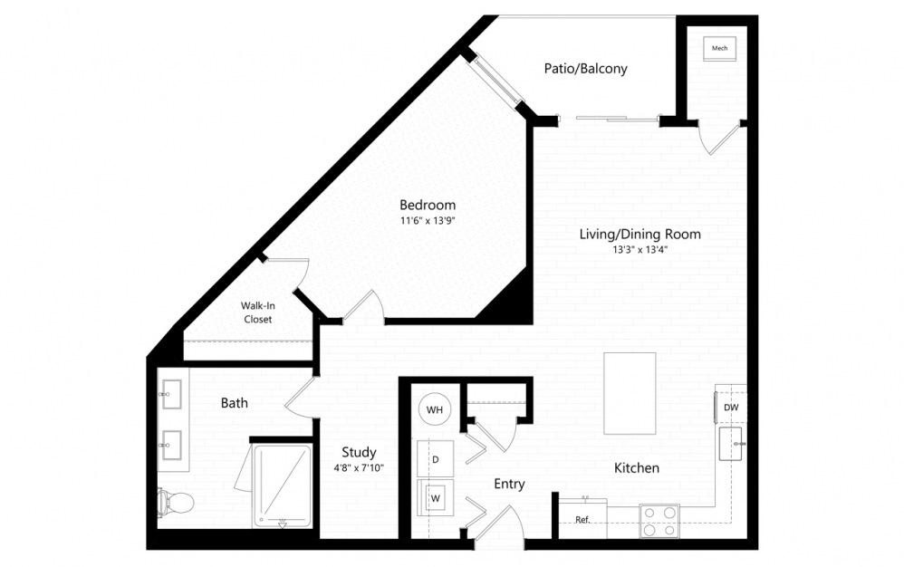 1BC-3 - 1 bedroom floorplan layout with 1 bath and 845 square feet.