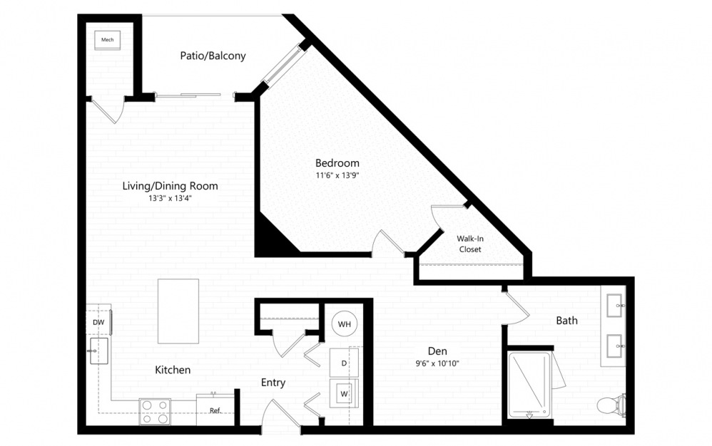 1BC-4 - 1 bedroom floorplan layout with 1 bath and 911 square feet.