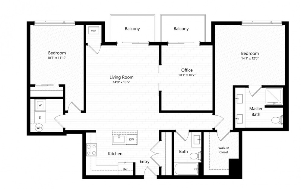 2B+D - 2 bedroom floorplan layout with 2 baths and 1341 square feet.